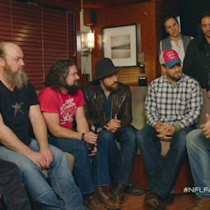 Houston Texans defensive end J.J. Watt and Zac Brown Band hang out