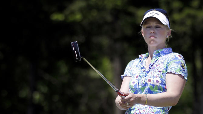 Morgan Pressel reacts after failing to sink a putt on the 17th hole during a semifinal round match against Azahara Munoz, of Spain, in the LPGA Sybase Match Play Championship golf competition at Hamilton Farm Golf Club in Gladstone, N.J., Sunday, May 20, 2012. Munoz won 2 and 1 on the 17th hole. (AP Photo/Julio Cortez)