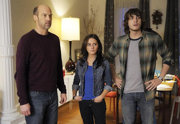 "This TV image released by ABC shows Anthony Edwards, left, Addison Timlin and Scott Michael Foster in a scene from ""Zero Hour."" Edwards plays Hank Galliston, a magazine publisher who descends into an historical mystery after his wife is kidnapped. ""Zero Hour,"" premieres Feb. 14, 2013 on ABC. (AP Photo/ABC, Phillippe Bosse)"