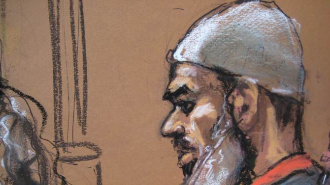 Courtroom sketch of Abu Ghaith in New York