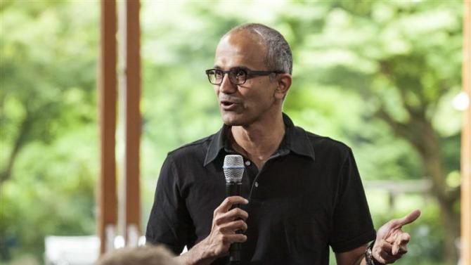 Satya Nadella, executive vice president, Cloud and Enterprise, addresses employees during the One Microsoft Town Hall event in Seattle