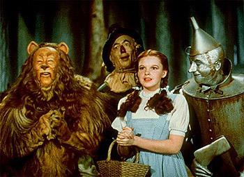 Bert Lahr , Ray Bolger , Judy Garland and Jack Haley in The Wizard Of Oz