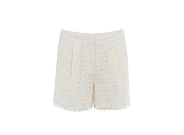 White lace overlay will look sweet and summery.  Warehouse lace short, $64, Warehouse