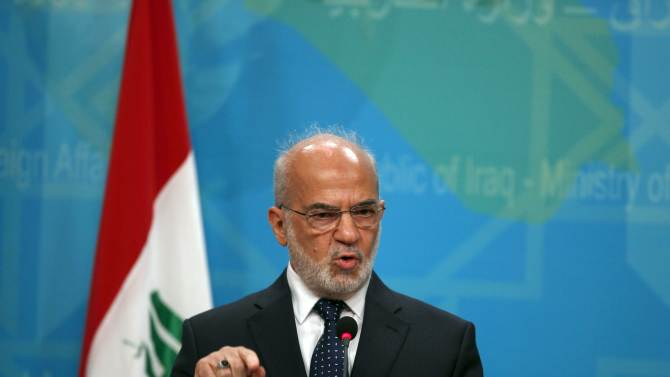 Iraqi Foreign Minister Ibrahim al-Jaafari speaks during a news conference in Baghdad