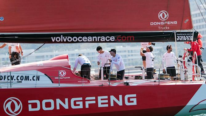 Skipper Charles Caudrelier and Dongfeng Race Team during the In-port race of the Volvo Ocean Race, offshore sailing's most prestigious round-the-world race, in Sanya, southern China's Hainan Island on February 7, 2015
