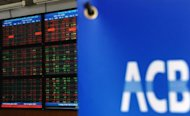 <p>The screen of share prices is seen turning almost red at an Asia Commercial Bank (ACB)'s securities trading floor in Hanoi on August 22, 2012. Vietnam's stock markets have lost nearly $4.0 billion in value after two top bankers were arrested this week in a widening police probe into the banking sector, state media said Friday.</p>