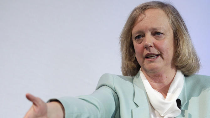 FILE-In this Friday, March 9, 2012, file photo, Hewlett Packard CEO and President Meg Whitman speaks at a conference on the Stanford University campus in Palo Alto, Calif. Hewlett-Packard Co. is expecting earnings to fall by more than 10 percent next year as CEO Meg Whitman struggles to fix a wide range of problems in a weakening economy. Whitman delivered the disappointing forecast Wednesday, Oct. 3, 2012, at a meeting that the ailing Silicon Valley pioneer held for analysts and investors. The gathering gave Whitman the opportunity to persuade investors that she has come up with a compelling strategy for turning around HP one year after being named CEO.(AP Photo/Paul Sakuma, File)