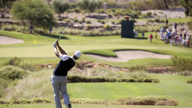 Ryan Moore tees off the fifth hole during the final round of the Justin Timberlake Shriners Hospitals for Children Open golf tournament on Sunday, Oct. 7, 2012, in Las Vegas. (AP Photo/Julie Jacobson)
