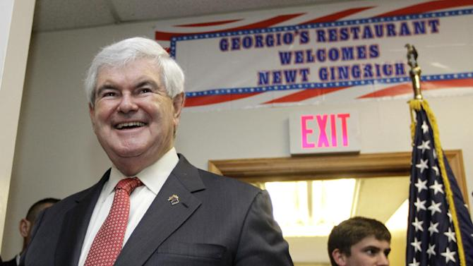 Republican presidential candidate, former House Speaker Newt Gingrich smiles as he greets supporters at a campaign event in Cramerton, N.C., Wednesday, April 25, 2012. (AP Photo/Chuck Burton)