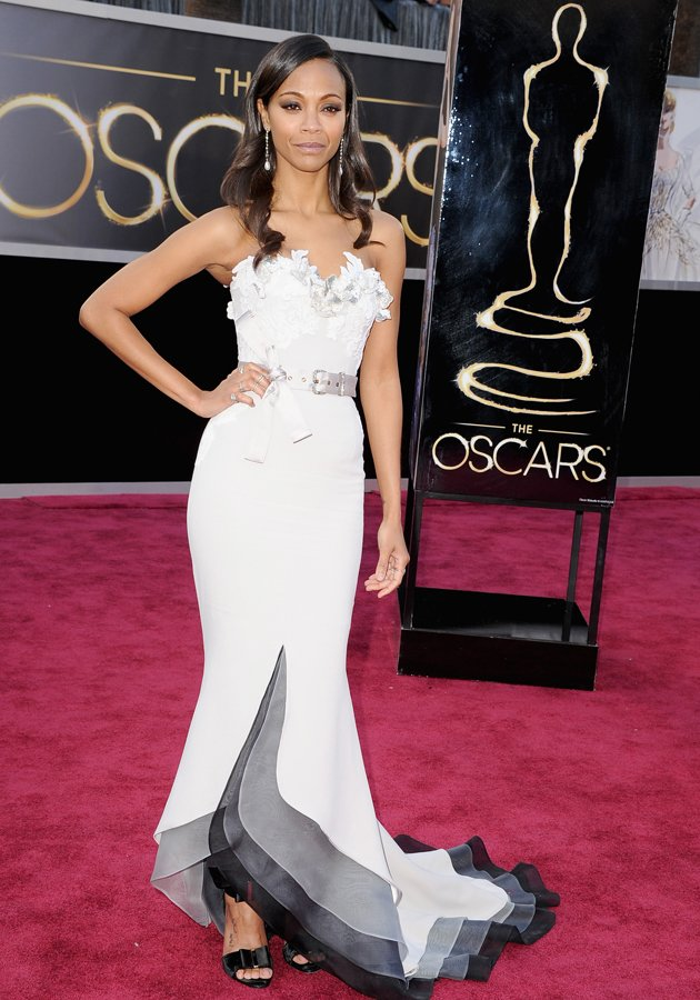 Zoe Saldana went for a slim-fitted…