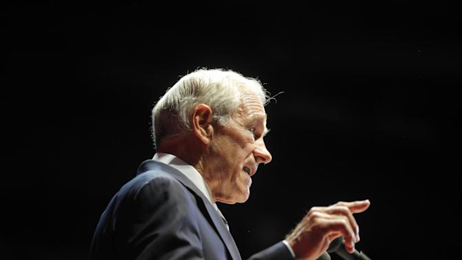 Rep. Ron Paul, R-Texas, speaks at a rally at the University of South Florida Sun Dome on the sidelines of the Republican National Convention in Tampa, Fla., on Sunday, Aug. 26, 2012. (AP Photo/Charles Dharapak)