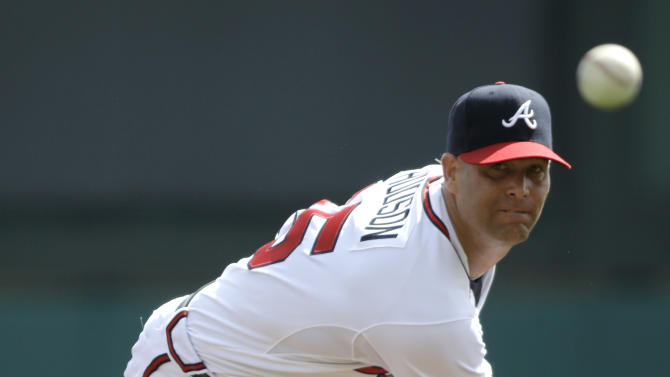Atlanta Braves pitcher Tim Hudson throws against the Detroit Tigers during an exhibition baseball game, Friday, Feb. 22, 2013, in Kissimmee, Fla. (AP Photo/David J. Phillip)
