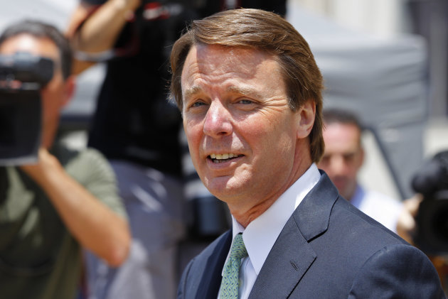 John Edwards leaves a federal courthouse during the ninth day of jury deliberations in his trial on charges of campaign corruption in Greensboro, N.C., Thursday, May 31, 2012. Edwards has pleaded not guilty to six counts related to campaign finance violations over nearly $1 million from two wealthy donors used to help hide the Democrat&#39;s pregnant mistress as he sought the White House in 2008. (AP Photo/Chuck Burton)