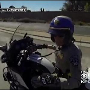 Caught On Camera: Wheelie-Popping Bikers Shoo-Away CHP Motorcycle Officer On I-680 In Milpitas