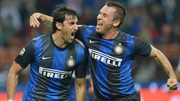 Diego Milito celebrates after firing Inter&#39;s opening goal