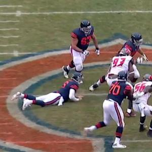 Chicago Bears quarterback Jay Cutler sacked by Tampa Bay Buccaneers defensive tackle Gerald McCoy, fumbles