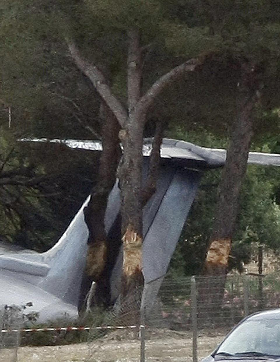 The plane lays in a wooded area after it crashed on landing at Le Castellet airport, near Toulon, southern France, Friday, July, 13, 2012. Three US citizen died in the accident. (AP Photo/Claude Paris)