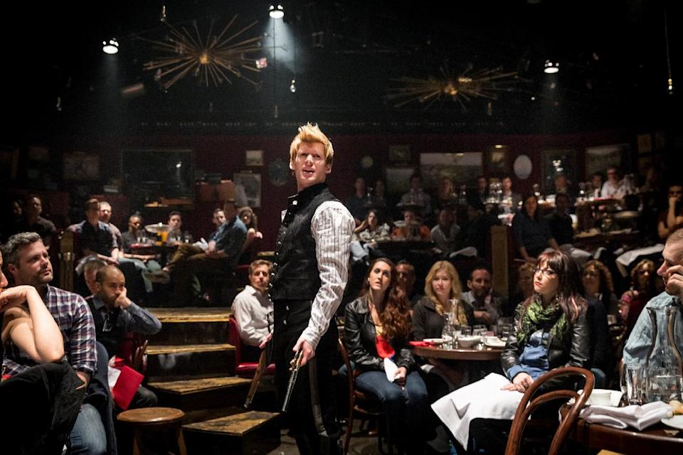 "This undated theater image released by The Hartman Group shows Lucas Steele in ""Natasha, Pierre and the Great Comet of 1812,"" a dinner theater performance that opened Thursday, May 15, 2013 in the meatpacking district of New York. (AP Photo/The Hartman Group, Chad Batka)"