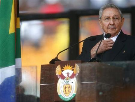 Cuban President Raul Castro delivers his speech at the memorial service for late South African President Nelson Mandela at the FNB soccer stadium in Johannesburg