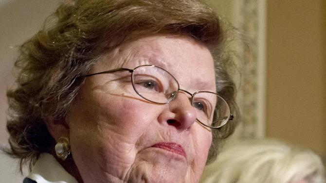 FILE - In this June 5, 2012, file photo Senate Appropriations Committee Chair, Sen. Barbara Mikulski, D-Md. speaks during a news conference on Capitol Hill in Washington. She's an outspoken former social worker, who together with a quiet but tough Southern lawyer named Rep. Hal Rogers, chairman of the House Appropriations Committee, are the pain managers of the nation's fiscal difficulties. Rogers and Mikulski preside over a tiny political domain in which bipartisanship survives, however uncomfortably, and lawmakers do their jobs. (AP Photo/J. Scott Applewhite, File)