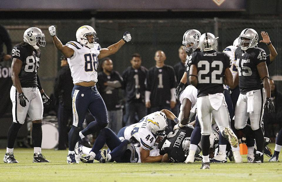 San Diego Chargers tight end Dante Rosario (88) celebrates after blocking a punt by Oakland Raiders punter Shane Lechler, that was recovered by the Chargers, during the second half of an NFL football game in Oakland, Calif., Monday, Sept. 10, 2012. (AP Photo/Tony Avelar)