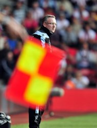Aston Villa manager Paul Lambert watches from the sidelines during his side's match against Southampton on September 22. Lambert's argument with Roberto Mancini on Tuesday came after he remonstrated with fourth official Martin Atkinson when Joe Bennett fouled Gareth Barry