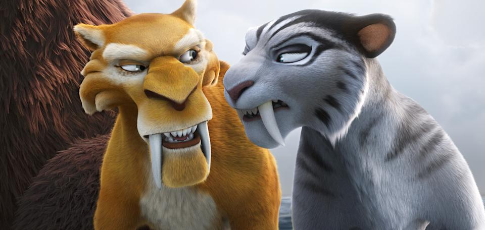 "This image released by 20th Century Fox shows the characters Diego, voiced by Denis Leary, left, and Shira, voiced by Jennifer Lopez in a scene from the animated film, ""Ice Age: Continental Drift."" (AP Photo/20th Century Fox)"