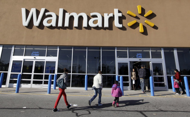 <p>               FILE - In this Feb. 20, 2012, file photo, customers walk into and out of a Wal-Mart store in Methuen, Mass.  Wal-Mart Stores Inc. reported a 10.1 percent increase in first-quarter profit that beat Wall Street estimates, reported Thursday, May 17, 2012. The world's largest retailer also offered an upbeat profit outlook for the current quarter.  (AP Photo/Elise Amendola, File)