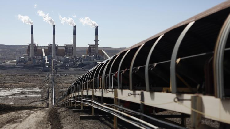 Coal is transported via conveyor belt to the coal fired Jim Bridger Power Plant outside Point of the Rocks, Wyoming