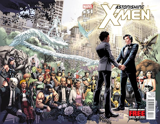 This comic book cover image released by Marvel shows &quot;Astonishing X-Men,&quot; No 51. Marvel Comics said Tuesday, May 22, 2012 that the Canadian character named Jean-Paul Beaubier, right, will marry his beau, Kyle Jinadu, in this edition due out June 20. (AP Photo/Marvel Comics)