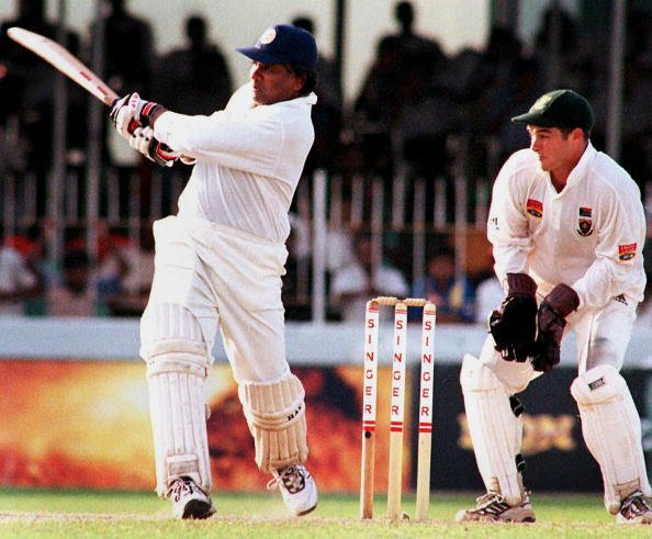Sri Lankan batsman Arjuna Ranatunga drives the bal [Mark Boucher's retirement]