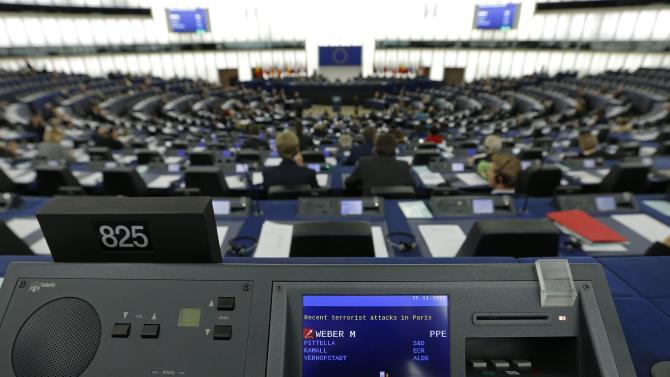 A general view shows the plenary room of the European Parliament during a debate on Paris attacks in Strasbourg