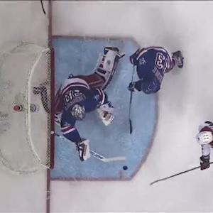 Lundqvist reacts in time for a blocker save