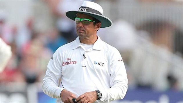 Aleem Dar, pictured, has come in for criticism for giving Stuart Broad not out when he was caught by Michael Clarke