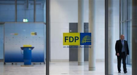 Man walks in lobby of former FDP faction in lower house of parliament in Berlin