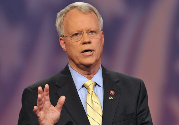 """FILE - In this Wednesday, July 2, 2008 file photo, 10th Congressional District Republican candidate Rep. Paul Broun speaks on the set of Georgia Public television in Atlanta. The Georgia representative said in videotaped remarks on Sept. 27, 2012 that evolution, embryology and the Big Bang theory are """"lies straight from the pit of hell"""" meant to convince people that they do not need a savior. The Republican lawmaker made those comments during a speech at a sportsman's banquet at Liberty Baptist Church in Hartwell. Broun, a medical doctor, is running for re-election in November unopposed by Democrats. (AP Photo/Gregory Smith)"""