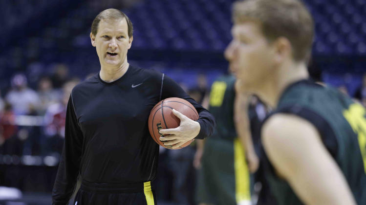 Oregon head coach Dana Altman directs his team during practice for a regional semifinal game in the NCAA college basketball tournament Thursday, March 28, 2013, in Indianapolis. Oregon plays Louisville on Friday. (AP Photo/Darron Cummings)