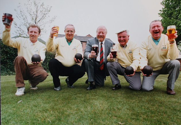 New Inn Bowling Club members (l-r) Peter Watts, Mike Defaye, Ron Worthington (old landlord of pub) and George Smith (Secretary for 40 years ), and Len Gillmen, pictured in 1991 (SWNS)