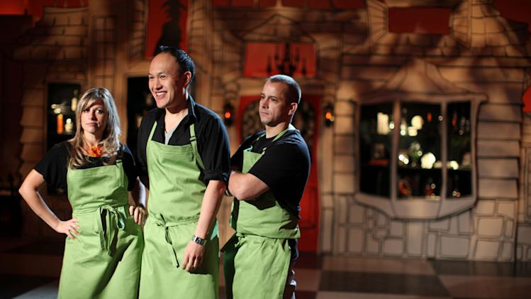 "Green Team members Andrea Reed, Ray Villafane, Jansen Chan on Food Network's ""Halloween Wars."""