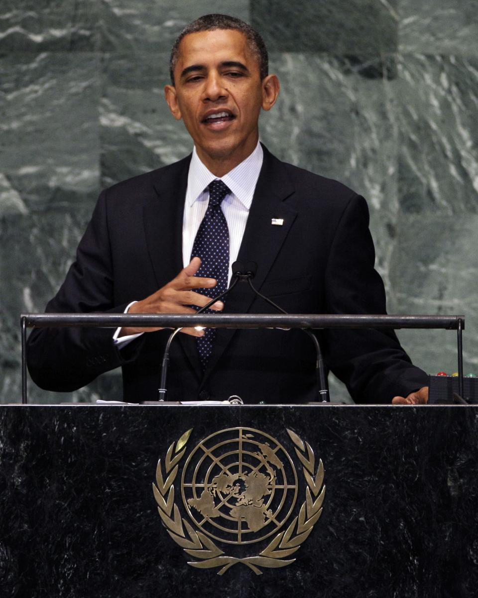 President Barack Obama addresses the 67th session of the General Assembly at United Nations headquarters, Tuesday, Sept. 25, 2012. (AP Photo/Richard Drew)