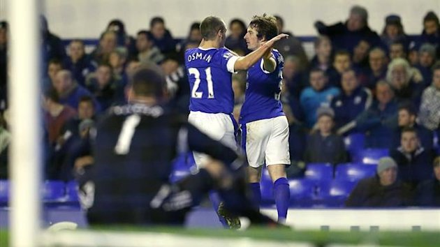 Leighton Baines celebrates scoring against West Bromwich Albion (PA Photos)