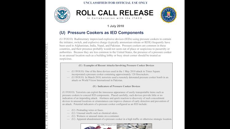 This Homeland Security Department pamphlet, from July 2010, distributed to police, fore, EMS and security personnel shows a diagram for rudimentary improvised explosive devices (IEDs) using pressure cookers to contain the initiator, switch and explosive charge. A person briefed on the Boston Marathon investigation says the explosives were in 6-liter pressure cookers and placed in black duffel bags. (AP Photo/Homeland Security Department)