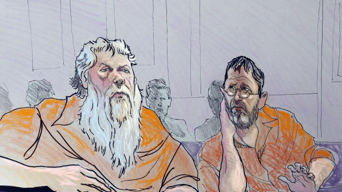Ray Adams, left, and Samuel Crump are shown in this artist rendering as he appear in a federal courtroom in Gainesville, Ga., Wednesday, Nov. 2, 2011. The men  and two others  are accused of planning a terror attack.  (AP Photo/Richard Miller)