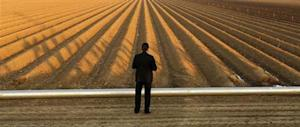 A Secret Service Agent keeps watch as U.S. President Obama tours a drought affected farm field in Los Banos, California