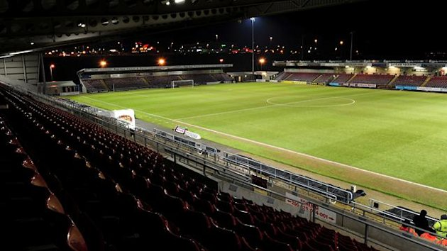 A view of Sixfields Stadium from the stands Northampton