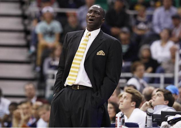 Utah Jazz's head coach Tyrone Corbin yells to a player in the second half during an NBA preseason basketball game against the Los Angeles Clippers Saturday, Oct. 12, 2013, in Salt Lake City.   The Cli