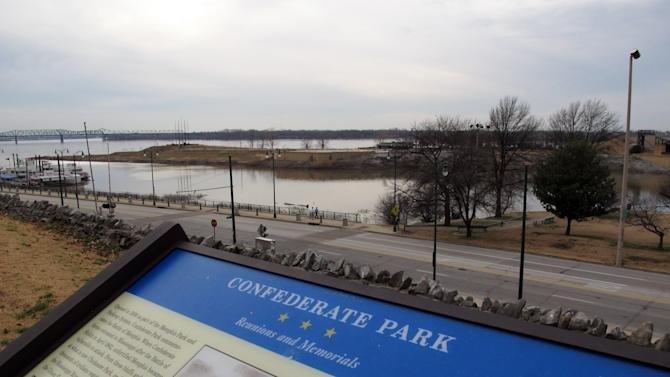 In this Wednesday, Feb. 6, 2013 photo, Confederate Park in downtown Memphis provides a view of the Mississippi River on an overcast day in Memphis, Tenn. The park and two other Confederacy-themed parks, are being renamed by the Memphis City Council. (AP Photo/Adrian Sainz)