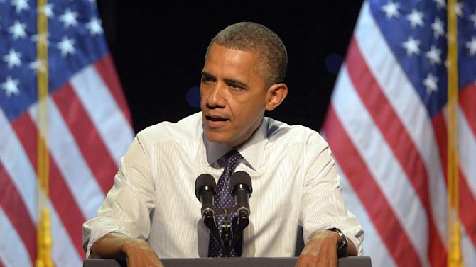 President Barack Obama speaks at a campaign event, Sunday, Oct. 7, 2012, in Los Angeles, Calif. (AP Photo/Mark J. Terrill)