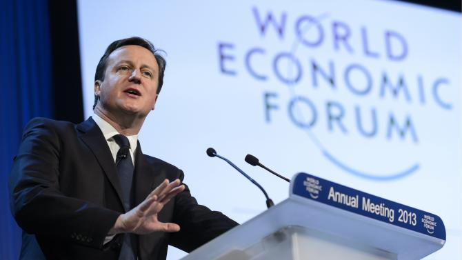 British Prime Minister David Cameron addresses a panel session of the 43rd Annual Meeting of the World Economic Forum, WEF, in Davos, Switzerland, Thursday, Jan. 24, 2013.  (AP Photo/Keystone, Laurent Gillieron)