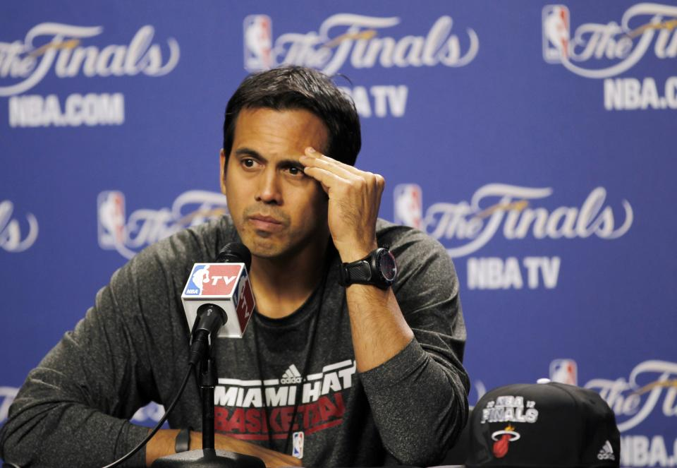 Miami Heat head coach Erik Spoelstra listens to a question during a basketball news conference, Wednesday, June 20, 2012, in Miami. The Heat host  the Oklahoma City Thunder on Thursday in Game 5 of the NBA finals. (AP Photo/Alan Diaz)
